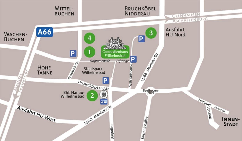 Comoedienhaus Wilhelmsbad Anfahrtsplan und Parkplaetze