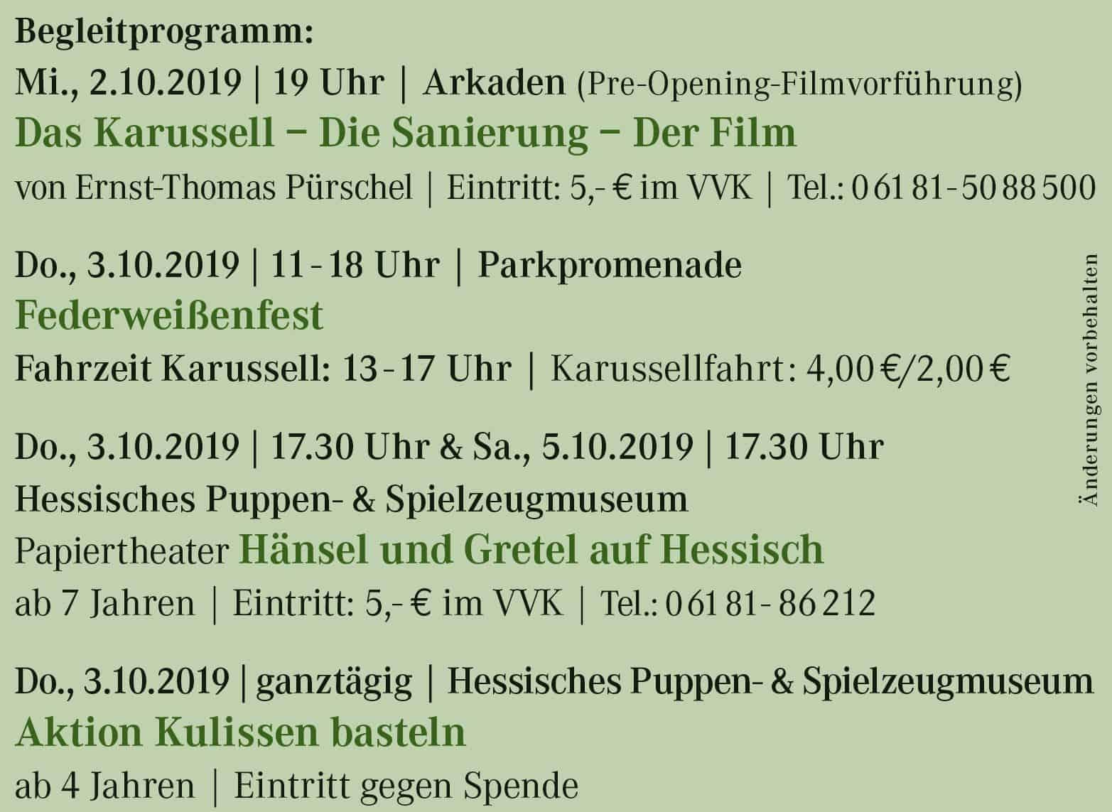Begleitprogramm Jubiläum 2019